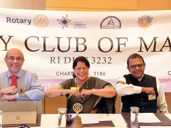 Dr V Ramasubramanian, at a meeting of RC Madras, with former club president Dr Vijaya Bharathi.