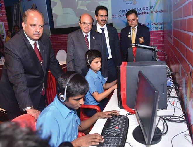 With PRID Ashok Mahajan, RID 3142 PDG Chandrashekhar Kolvekar and RC Thane Hills member Anindya Dasgupta, inaugurating computer learning programme for students with visual impairments