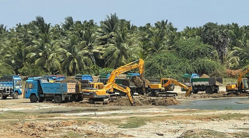 A pond being cleaned under RC Tirupur West's initiative.