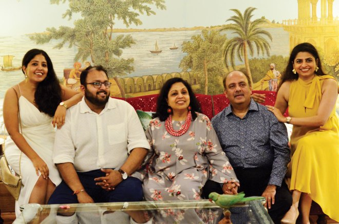 The Mehta family: children Chandni and Chiraag; Rashi and Shekhar; and daughter-in-law Geeta.