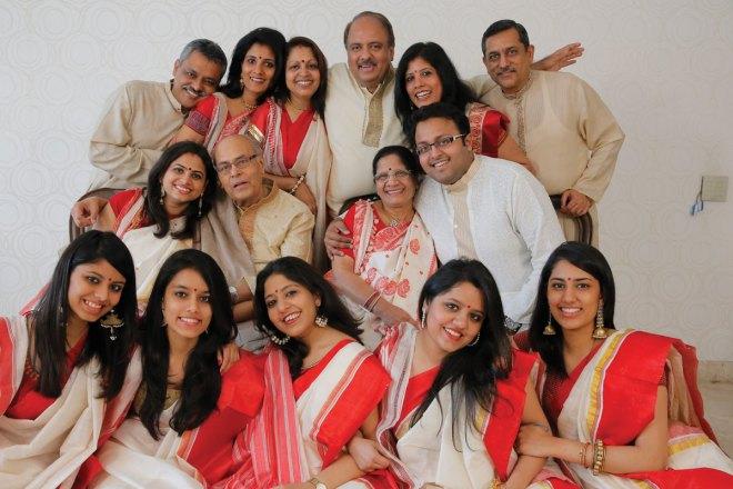 Mehta's parents, Sumer Chand and Vallabh Mehta, surrounded by their children and grandchildren: (back row) Chiraag and Madhulika Jain, Rashi and Shekhar Mehta, and Rashmi and KK Singh, (middle row) Geeta and Chiraag Mehta with Shekhar's parents, and (front row) Ishita and Roshni Jain; Shekhar's daughter, Chandni Mehta; and Sejal and Sanjana Singh.