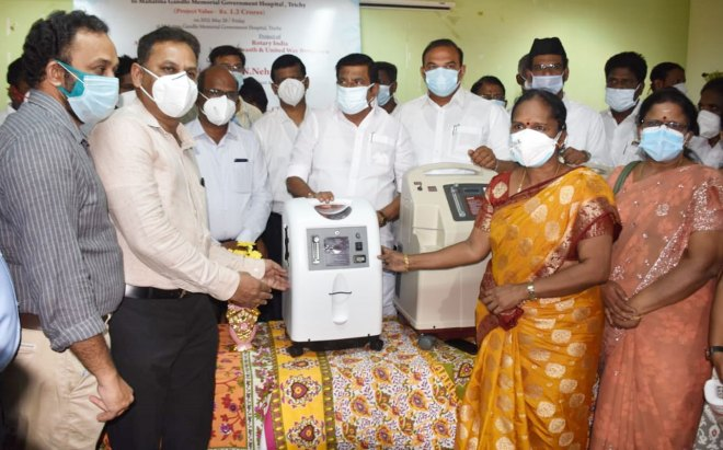 Members of RC Trichy Metro handed over 100 concentrators to the government hospital in the presence of K N Nehru, minister for municipal administration, urban and water supply.