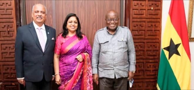 RI President Mehta and Rashi with President of Ghana Nana Akufo-Addo.