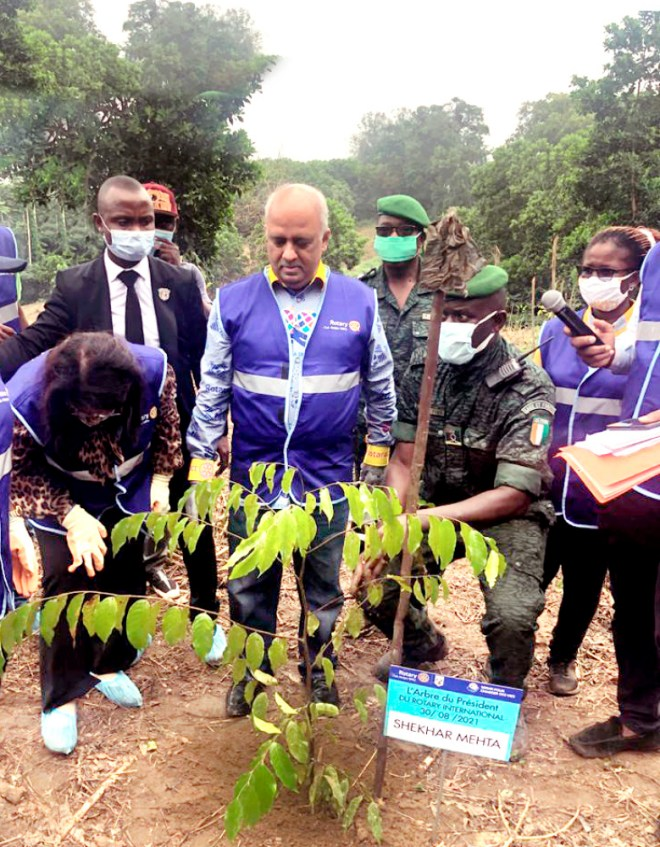 RI President Mehta participating in a tree plantation drive in the Ivory Coast.