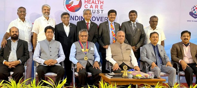Seated (from L): Rotary Health Care Trust President S Senguttuvan, RID Venkatesh, DG Shanmugasundaram, RI President Mehta, RID Kotbagi and PDG Kishore Kumar Cherukkumali. Standing (from L): V Rajamanickam, the Trust's vice-president; PDG Sivashankaran (mentor); V Mohanraj (treasurer); G. Shanmugam (founder trustee); PDG Dr Sagadhevan (founder chairman); KK Vijayachandhran (joint secretary) and MK Sivakumar (founder trustee).
