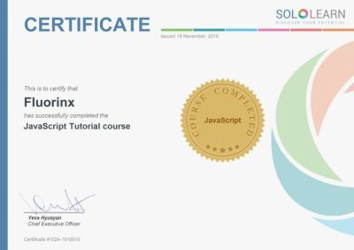SoloLearn Certificate - Sololearn : Apprendre à coder mais pas que