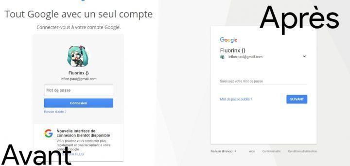 Interface de Connexion Google Avant/après