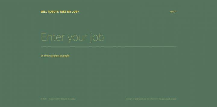 "Interface de ""Will Robots Take My Job"""