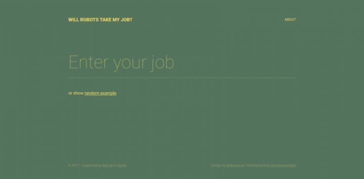 "Interface de ""Will Robots Take My Job"""
