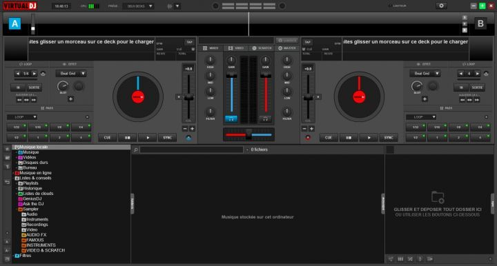 Interface de base de VirtualDJ