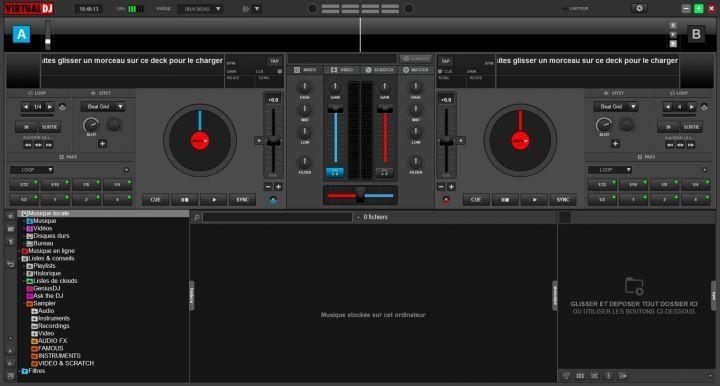 Interface de base de VirtualDJ