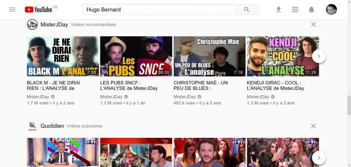 Page d'accueil de YouTube dans ce nouveau style