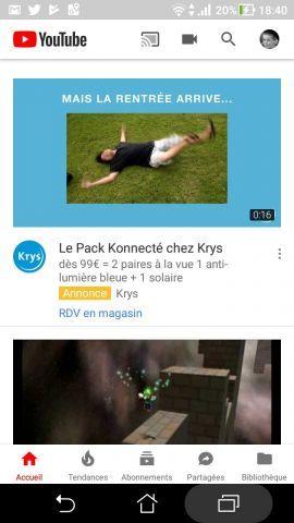 Nouveau style de l'application YouTube