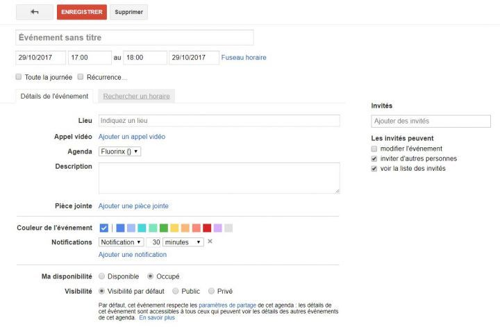 Ancienne Interface du Google Agenda