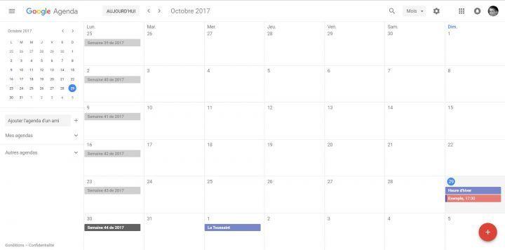 Nouvelle interface de Google Agenda