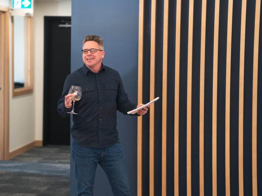 Greg gives a toast