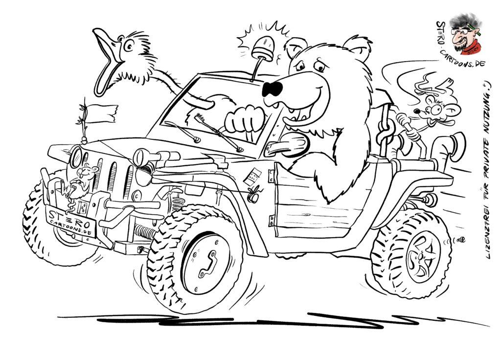Cartoon-karikatur-Malvorlage Strandbuggy - Roth-Cartoons (DE)