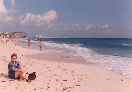 Can-cun! mom at the beach in Cancun, 1992