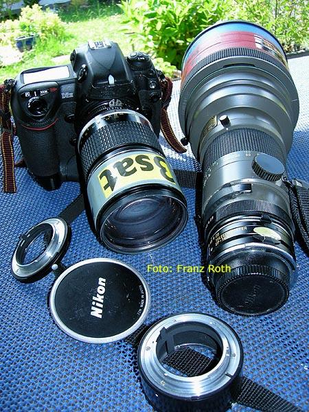 Nikon D2H, 2,8/300 mm von Tamron, Nikkor 2,8/180 mm und Zwischenringe PK-11 und PK-13 von Nikon