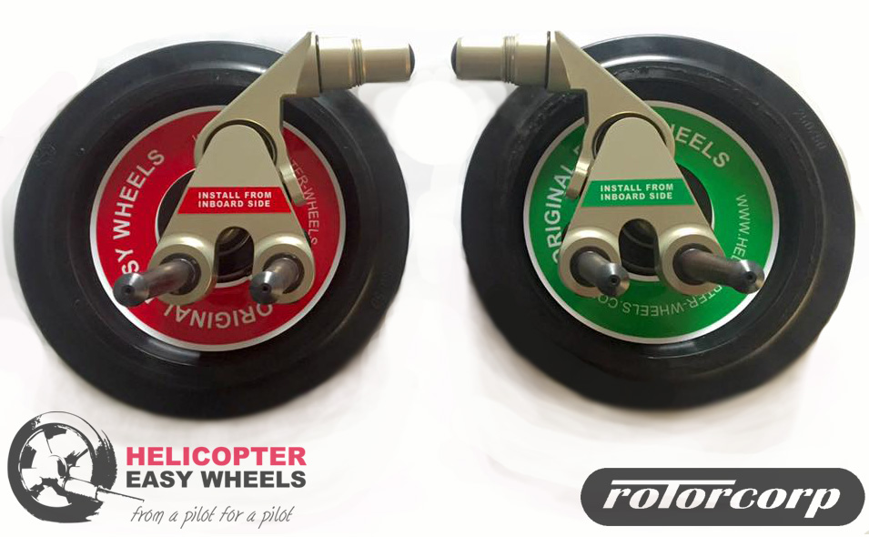 These new wheels designed especially for the R44 Clipper with pop-out emergency float systems - from the factory or DART - connect with two pins to the lifting points.