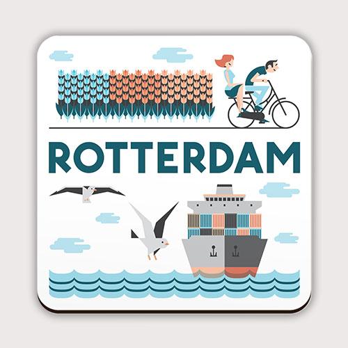 Rotterdamse onderzetter met boot en tulpen