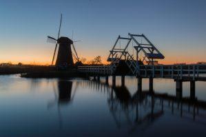 Kinderdijk, Molen, Brug, Zonsondergang, Rotterdam, Alblasserdam, molens, nederland, holland