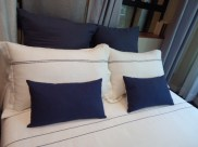 Bed- Duvet & Pillow, L2 black , Blue linen cushions