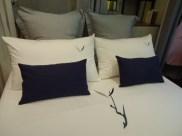 Bed- Duvet & Pillow, Y, Blue linen cushions