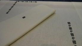 Black Arty runner and napkin white linen