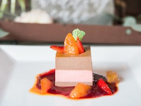 Truly scrumptious! A chocolate twist on our Signature Panna Cotta. Photo courtesy of Joy Michelle Photography