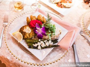 Always a crowd pleaser! ROUGE's Gluten-free Crab Cakes paired with Grilled Asparagus finished with Feta Cheese Crumbles. --- Photo by Alysia Jayson Photography.