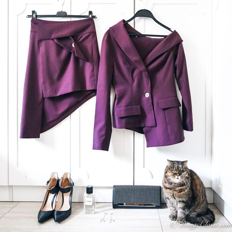 Stylist Licqoo presents Maya Li Asymmetric V-neck Jacket and skirt