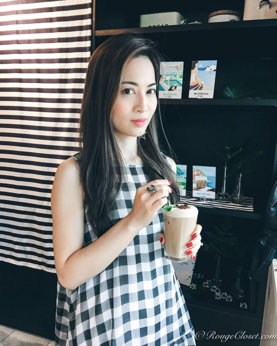 RubyK @rougecloset is tasting the new Nespresso Insenso On Ice in ASOS gingham dress