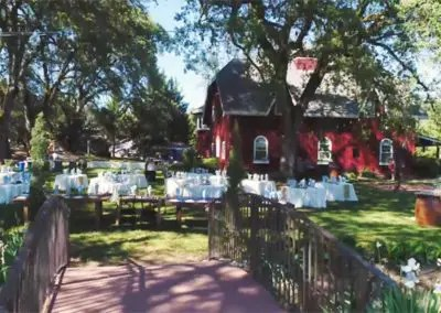 Rough and ready outdoor wedding reception set up