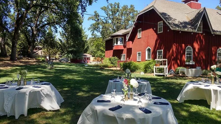 Outdoor wedding reception setup at Rough & Ready Vineyard Nevada County's Favorite Vineyard Wedding Venue