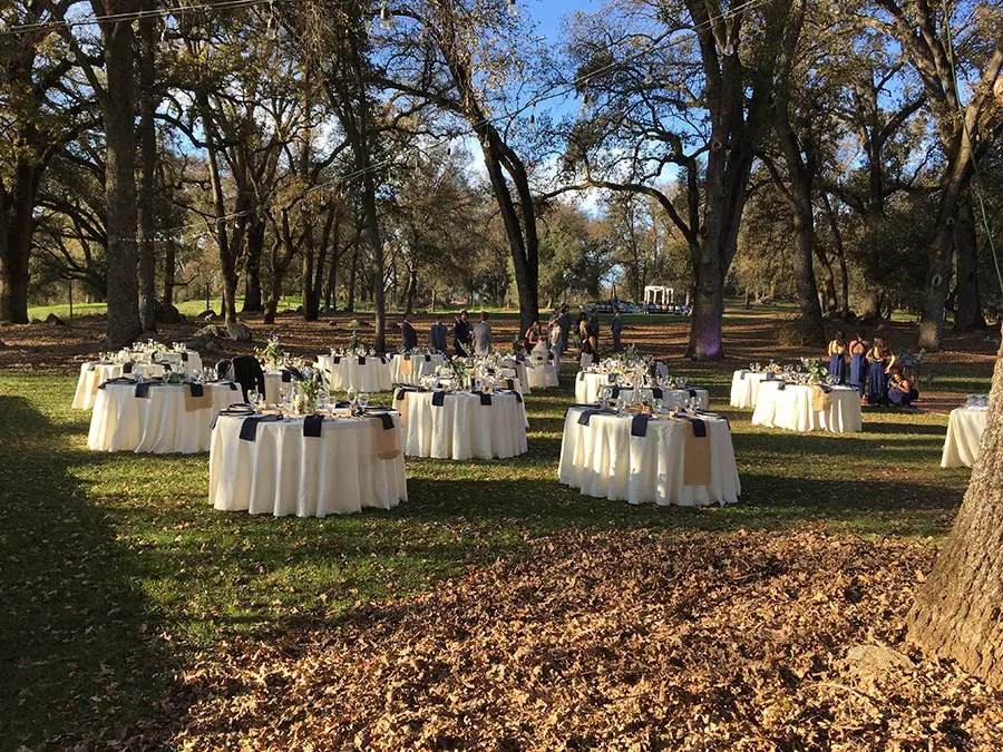 Wedding reception packages include guest tables