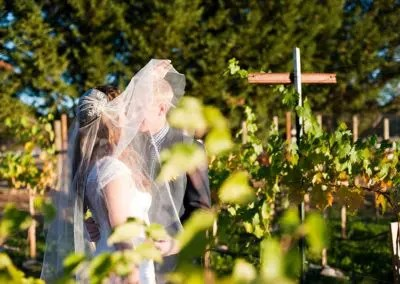 Outdoor Wedding photo of couple kissing in the vineyard
