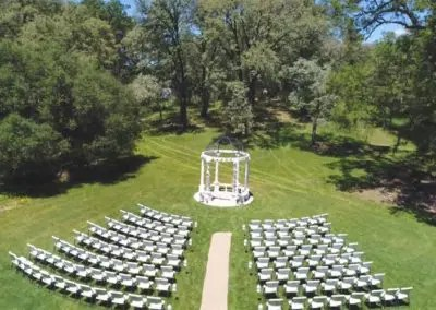 Outdoor wedding Gazebo and chairs set up and ready for wedding