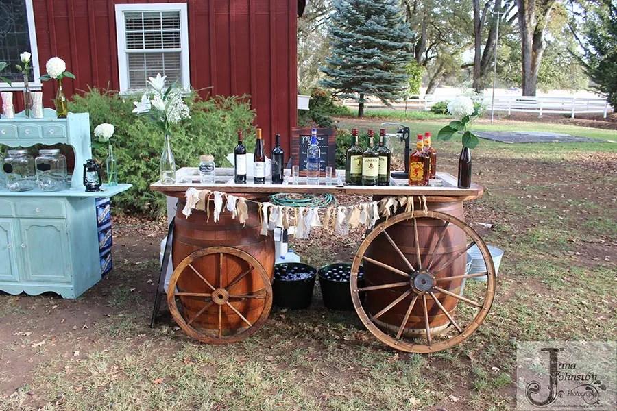Bar setup at Rough and Ready Vineyard wedding venue