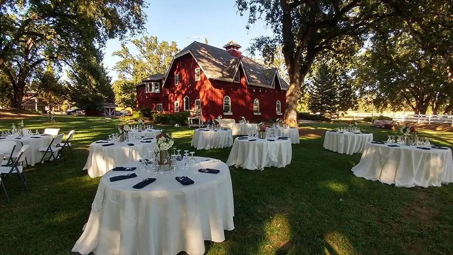 Destination wedding reception setup at Rough and Ready vineyards