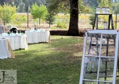 Garden wedding venue setup at Rough and Ready vineyards