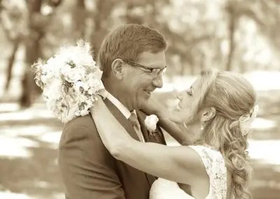 Sepia photo of couple in an intimate wedding venue setting