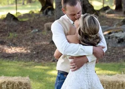 Couple Embrace at an Intimate Wedding Venue