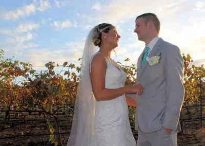 Bride and Groom pose for photo at Rough & Ready Vineyard Nevada County's Favorite Vineyard Wedding Venue