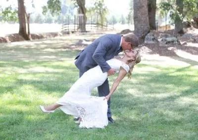 Wedding Couple Enjoy a Dip in beautiful outdoor wedding venue