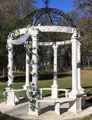 Italian marble gazebo decorated for a wedding