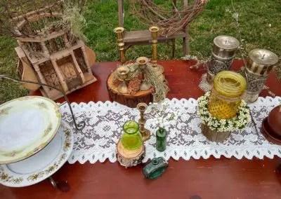 Boho wedding decor close up of reception table