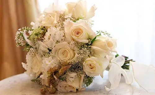 Bridal bouquet made with white roses