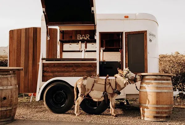 The Drunken Burro trailer with one of the burros