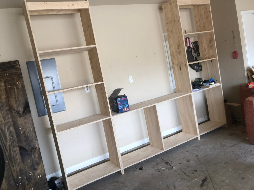 The frame of the double barn door media center.